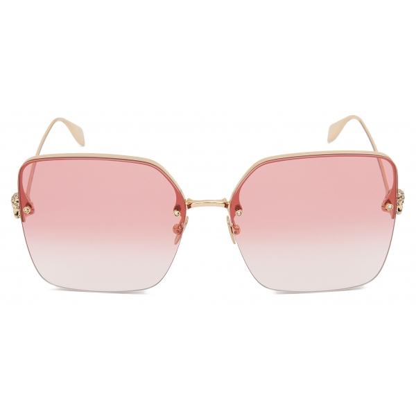Alexander McQueen - Occhiali da Sole Quadrati con Teschio in Metallo Leggero - Marrone - Alexander McQueen Eyewear