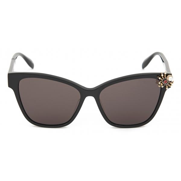 Alexander McQueen - Skull Jeweled Square Sunglasses - Gold Red - Alexander McQueen Eyewear
