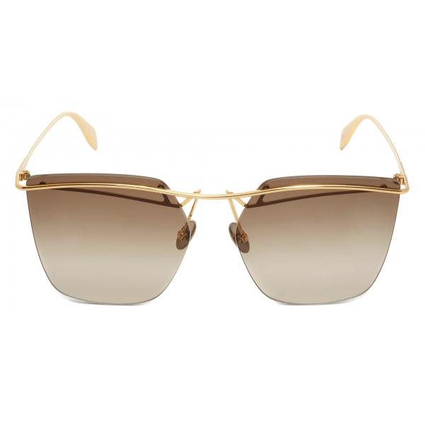 Alexander McQueen - Occhiali da Sole Pilota con Teschio in Metallo Leggero - Marrone - Alexander McQueen Eyewear