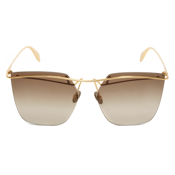 Alexander McQueen - Lightweight Metal Skull Pilot Sunglasses - Brown - Alexander McQueen Eyewear