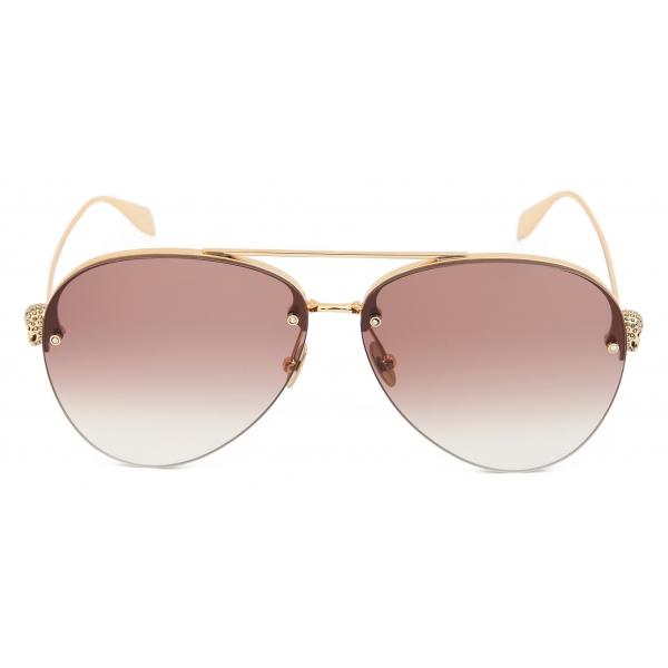 Alexander McQueen - Occhiali da Sole con Barra in Metallo Scheletrato - Oro - Alexander McQueen Eyewear