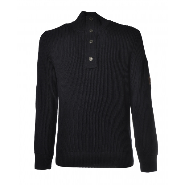 C.P. Company - Pullover Lupetto con Bottoni - Blu - Maglia - Luxury Exclusive Collection