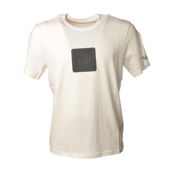 C.P. Company - T-Shirt con Riquadro Gommato - Bianco - Maglia - Luxury Exclusive Collection