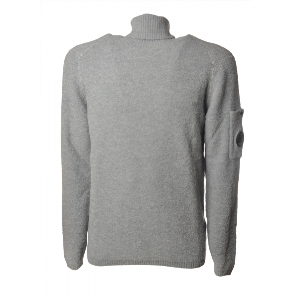C.P. Company - Turtleneck with Logo on Left Sleeve - Pearl Gray - Sweater - Luxury Exclusive Collection