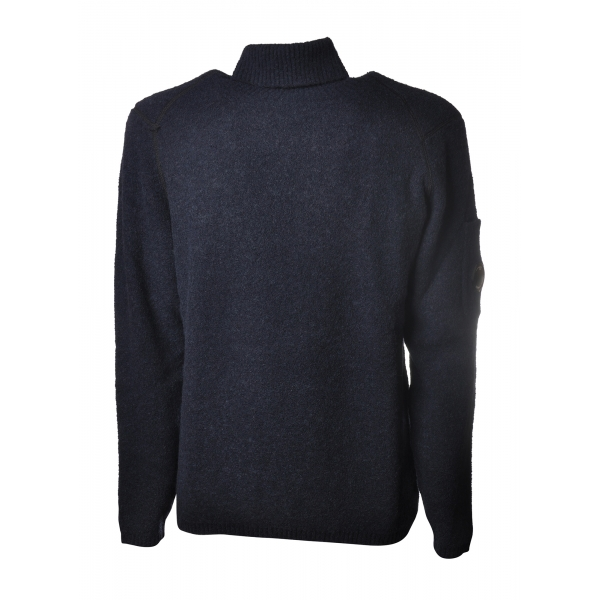 C.P. Company - Turtleneck with Logo on Left Sleeve - Blue - Sweater - Luxury Exclusive Collection