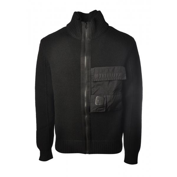 C.P. Company - Cardigan con Zip Anteriore - Nero - Maglia - Luxury Exclusive Collection
