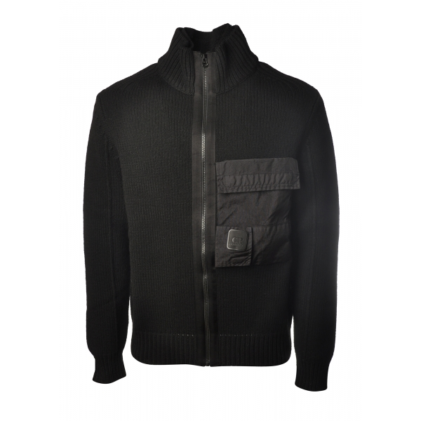 C.P. Company - Front Zip Cardigan - Black - Sweater - Luxury Exclusive Collection
