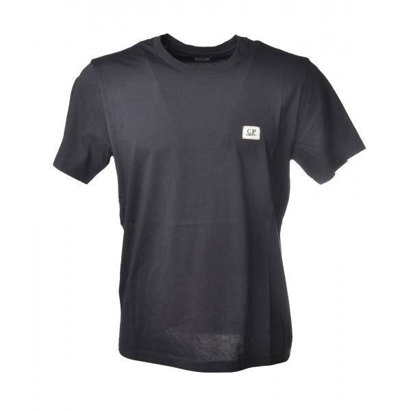 C.P. Company - T-Shirt con Logo Stampato Piccolo - Blu - Maglia - Luxury Exclusive Collection
