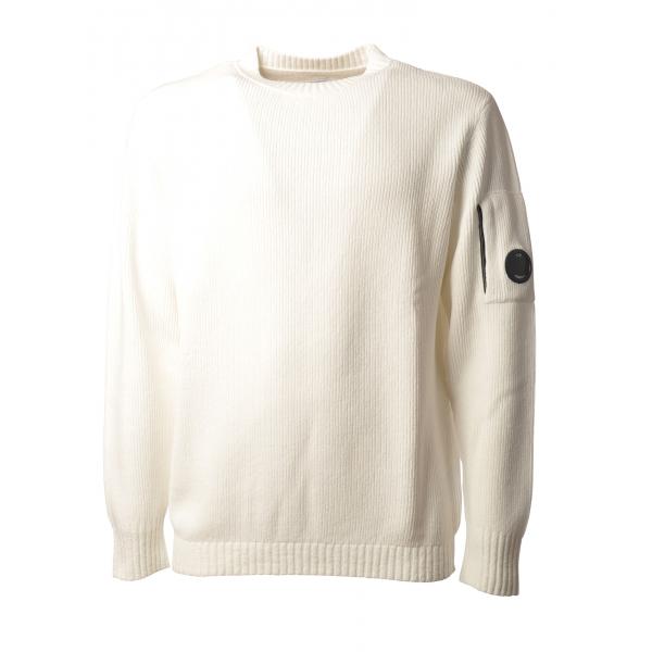 C.P. Company - Pullover Girocollo Ciniglia - Bianco - Maglia - Luxury Exclusive Collection