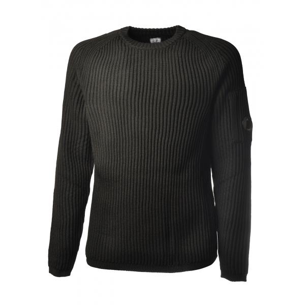 C.P. Company - Pullover Girocollo con Manica Raglan - Nero - Maglia - Luxury Exclusive Collection