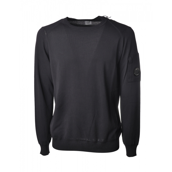 C.P. Company - Long Sleeve Crewneck Cotton Sweater - Blue - Pullover - Luxury Exclusive Collection