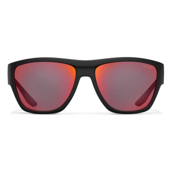 Prada - Prada Linea Rossa Impavid Collection - Occhiali Rettangolare - Nero Gommato - Prada Eyewear