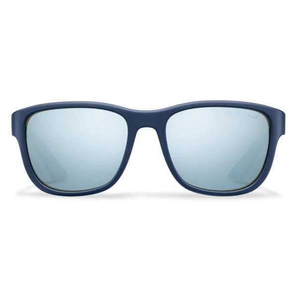 Prada - Prada Linea Rossa Flask - Rectangular - Rubberized Baltic Blue - Prada Collection - Sunglasses - Prada Eyewear