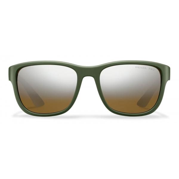 Prada - Prada Linea Rossa Flask - Rectangular - Rubberized Military Green - Prada Collection - Sunglasses - Prada Eyewear