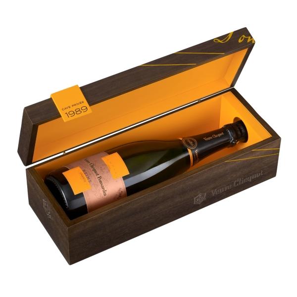 Veuve Clicquot Champagne - Cave Privée Rosé - 1989 - Wood Box - Pinot Noir - Luxury Limited Edition - 750 ml