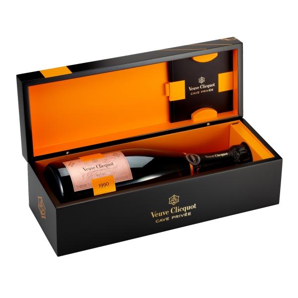 Veuve Clicquot Champagne - Cave Privée Rosé - 1990 - Wood Box - Pinot Noir - Luxury Limited Edition - 750 ml