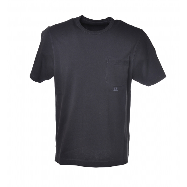 C.P. Company - Crewneck T-Shirt with Maxi Pocket - Blue - Luxury Exclusive Collection