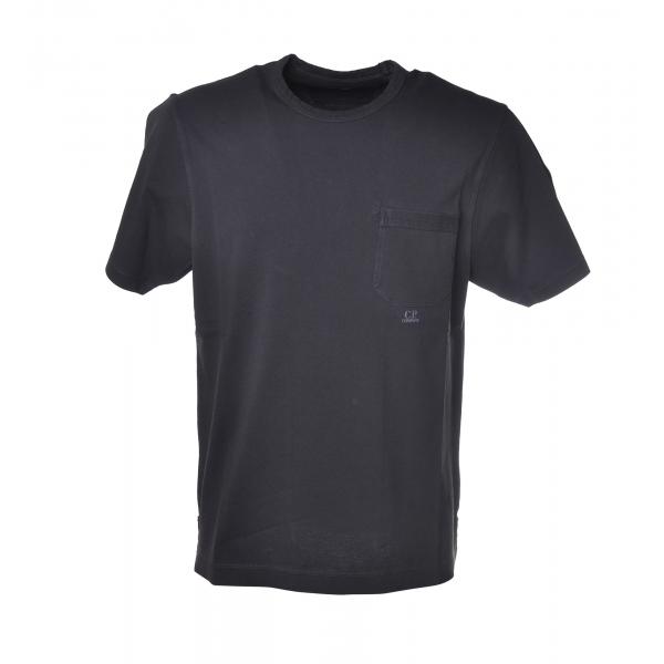 C.P. Company - T-Shirt Girocollo con Maxi Taschino - Blu - Luxury Exclusive Collection