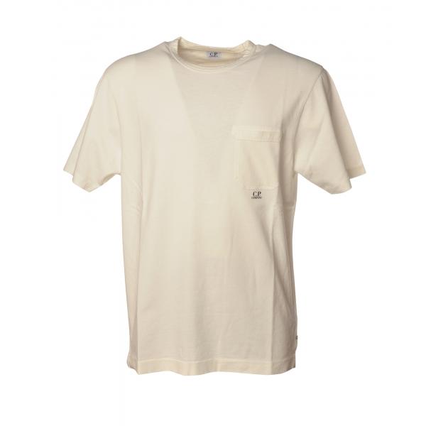 C.P. Company - T-Shirt Girocollo con Maxi Taschino - Bianco - Luxury Exclusive Collection
