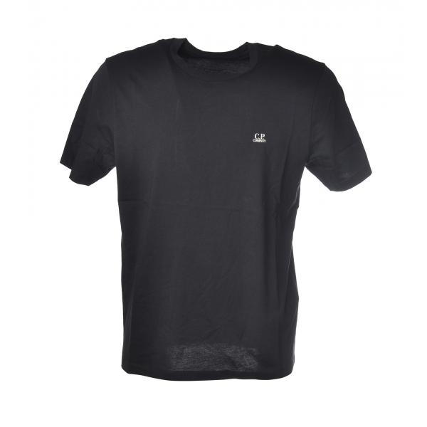C.P. Company - T-Shirt Girocollo con Logo - Blu - Luxury Exclusive Collection