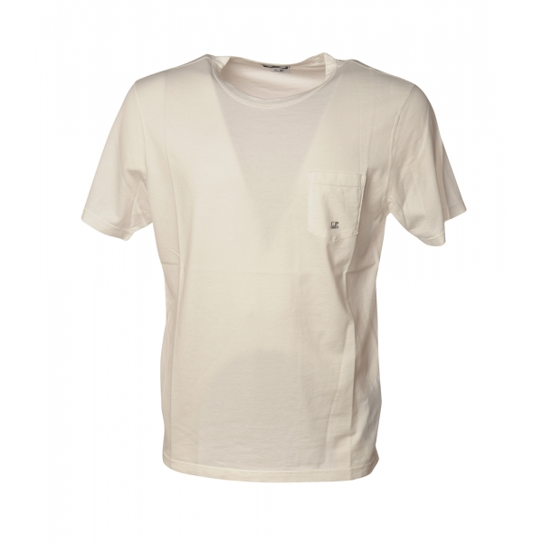 C.P. Company - Crewneck T-Shirt with Maxi Pocket - White - Luxury Exclusive Collection
