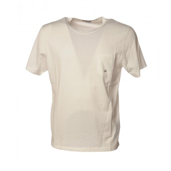 C.P. Company - T-Shirt Girocollo con Logo - Bianco - Luxury Exclusive Collection