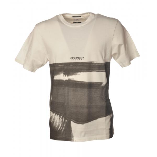 C.P. Company - T-Shirt Girocollo con Stampa Anteriore - Bianco e Nero - Luxury Exclusive Collection