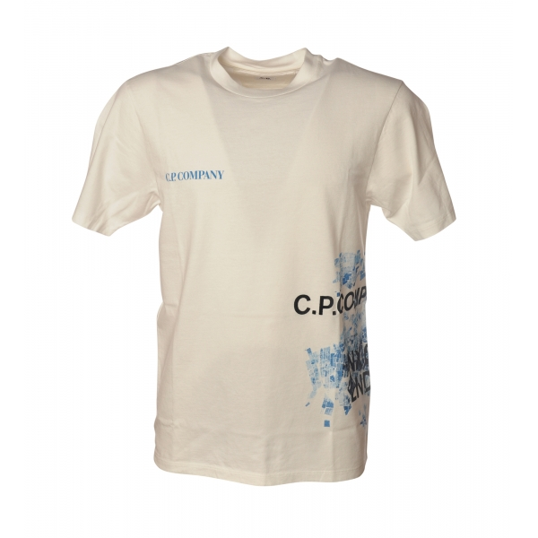 C.P. Company - Crewneck T-Shirt with Side Prints - White - Luxury Exclusive Collection