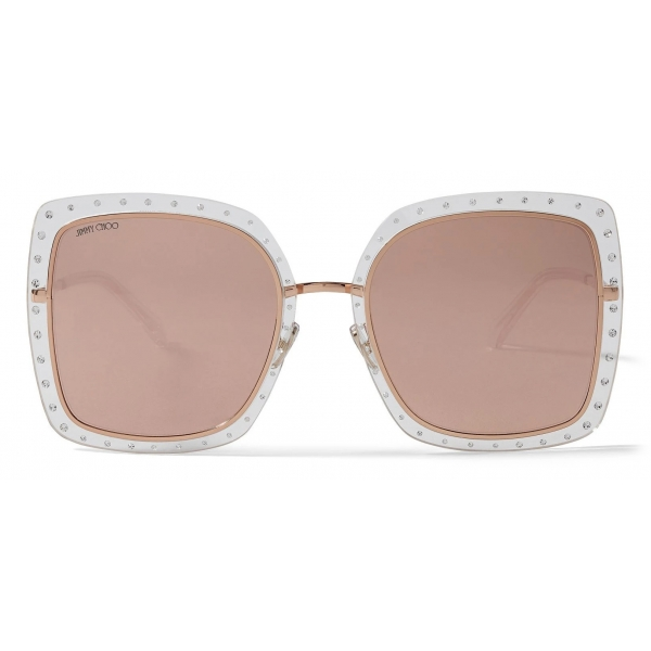 Jimmy Choo - Jeff - Green Mirror Oval Sunglasses with Gold Metal Frame and Black Temple Ends