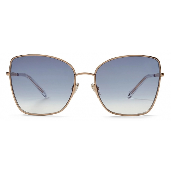 Jimmy Choo - Alexis - Rose Gold Square-Frame Sunglasses with Glitter Fabric - Jimmy Choo Eyewear