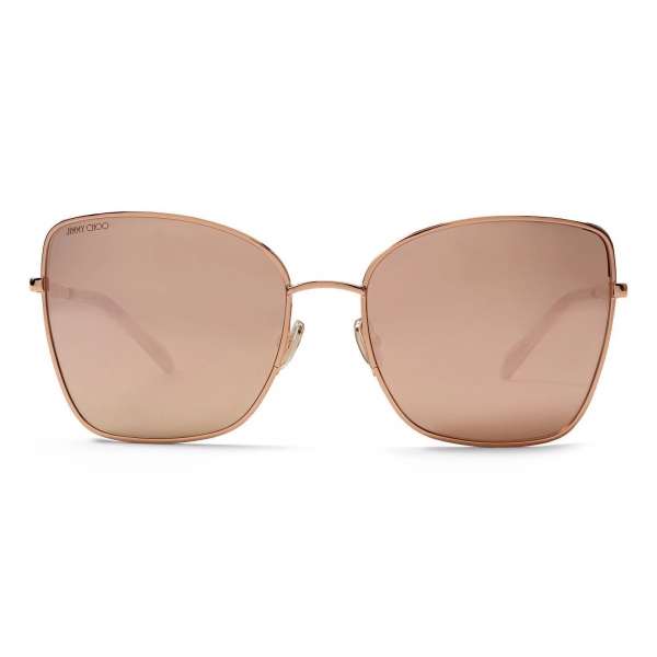 Jimmy Choo - Alexis - Occhiali da Sole Quadrati in Oro Rosa con Tessuto Glitterato - Jimmy Choo Eyewear