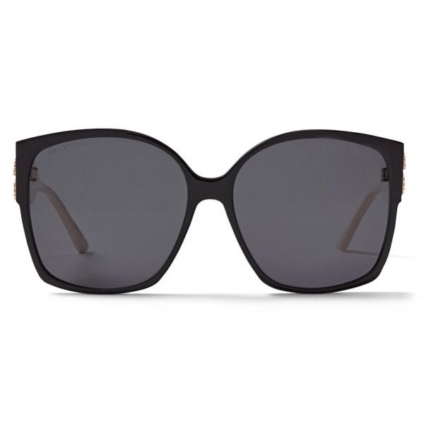 Jimmy Choo - Noemi - Black and Ivory Square-Frame Sunglasses with Crystal JC Logo - Jimmy Choo Eyewear