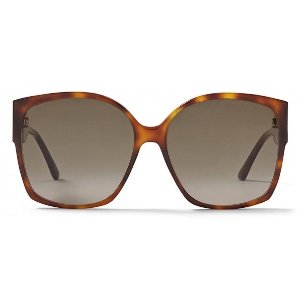 Jimmy Choo - Noemi - Dark Havana Square-Frame Sunglasses with Crystal JC Logo - Jimmy Choo Eyewear