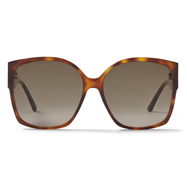 Jimmy Choo - Noemi - Occhiali da Sole Quadrati Neri e Avorio con Logo Jc in Cristallo - Jimmy Choo Eyewear