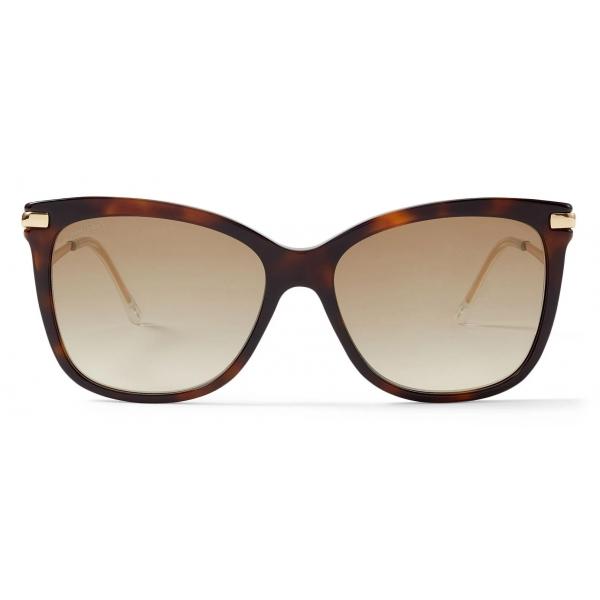 Jimmy Choo - Steff - Glittered Havana Square-Frame Sunglasses with Wavy Temples - Jimmy Choo Eyewear