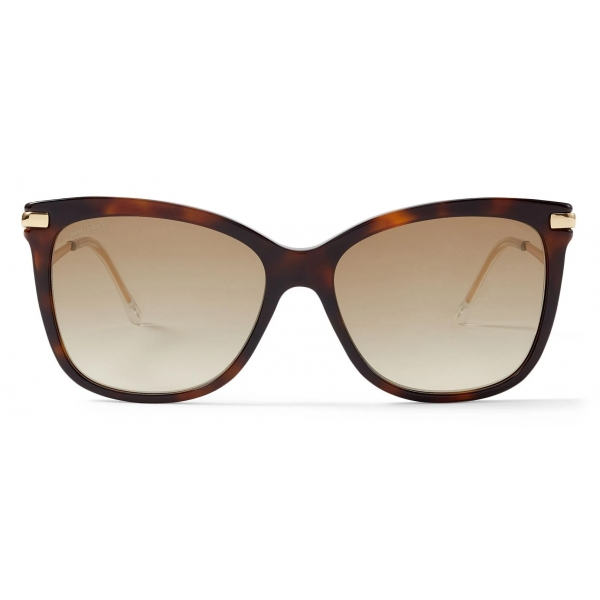 Jimmy Choo - Noemi - Occhiali da Sole Squadrati Havana Scuro con Logo Jc - Jimmy Choo Eyewear