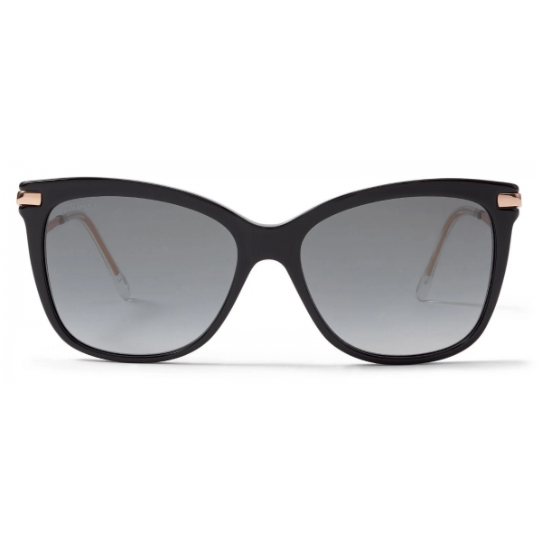Jimmy Choo - Steff - Black Square-Frame Sunglasses with Wavy Copper Gold Temples - Jimmy Choo Eyewear