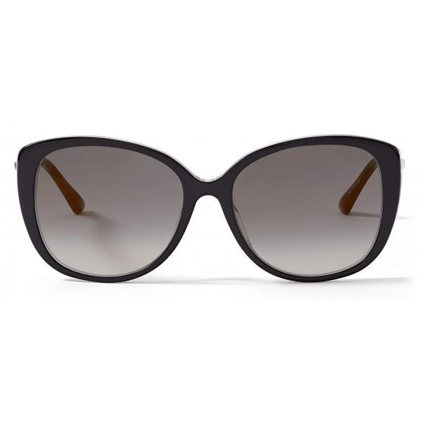 Jimmy Choo - Steff - Occhiali da Sole Quadrati Neri con Aste Ondulate in Rame Dorato - Jimmy Choo Eyewear
