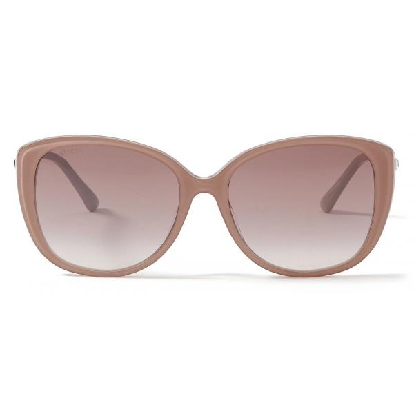 Jimmy Choo - Aly - Nude Glitter Cat-Eye Sunglasses with Swarovski Crystal Embellishment - Jimmy Choo Eyewear