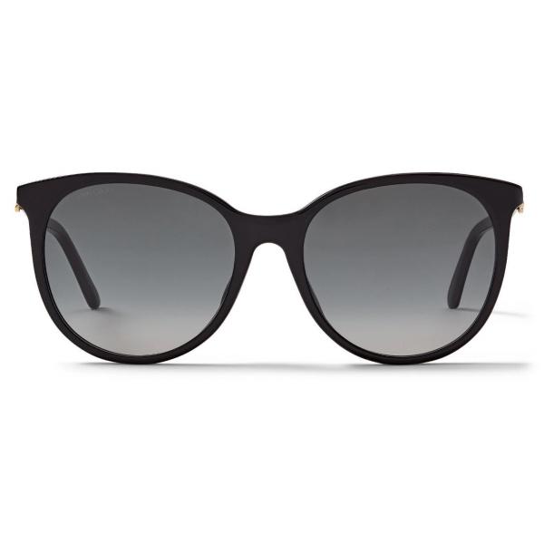 Jimmy Choo - Ilana - Black Oval-Frame Sunglasses with Copper Gold JC Emblem - Jimmy Choo Eyewear