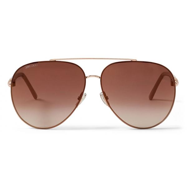 Jimmy Choo - Gray - Copper Gold Aviator Sunglasses with Swarovski Crystal Embellishment - Jimmy Choo Eyewear