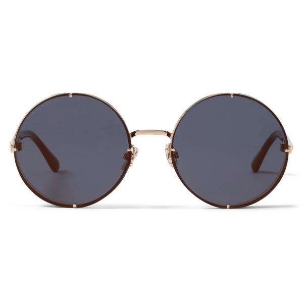 Jimmy Choo - Lilo - Rose Gold Round Sunglasses with Blue Shaded Lenses - Jimmy Choo Eyewear