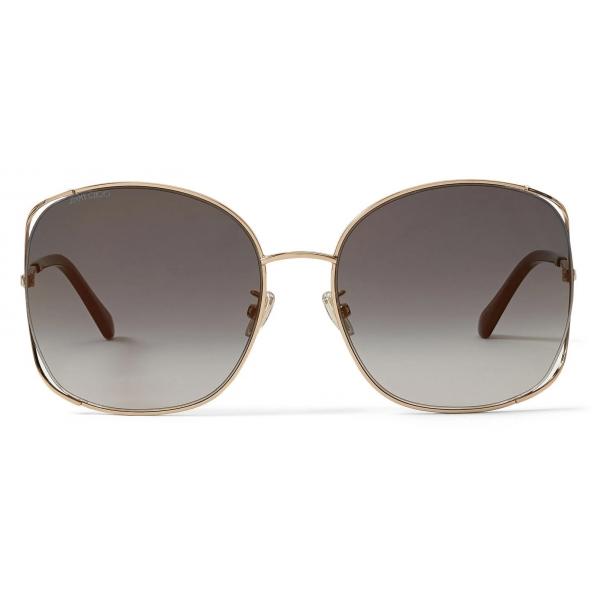 Jimmy Choo - Tinka - Rose Gold Oval-Frame Sunglasses with Crystal Embellishment - Jimmy Choo Eyewear