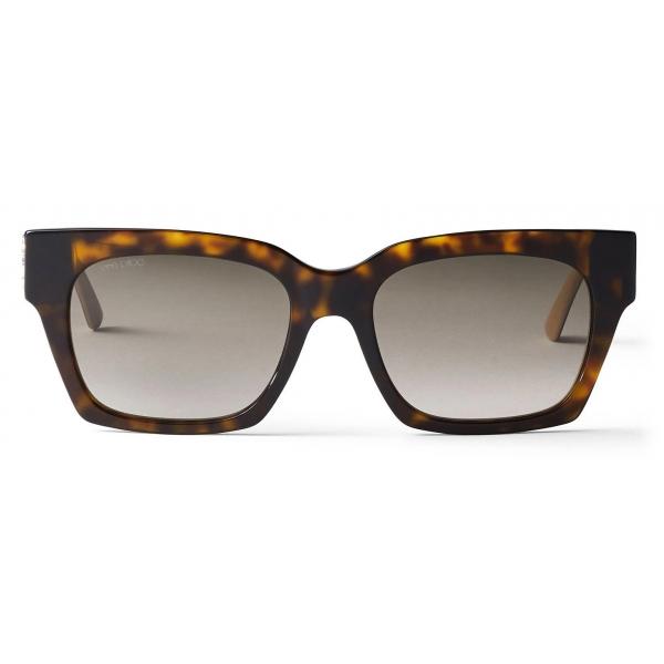 Jimmy Choo - Jo - Havana and Nude Glitter Square-Eye Suglasses with JC Logo - Jimmy Choo Eyewear