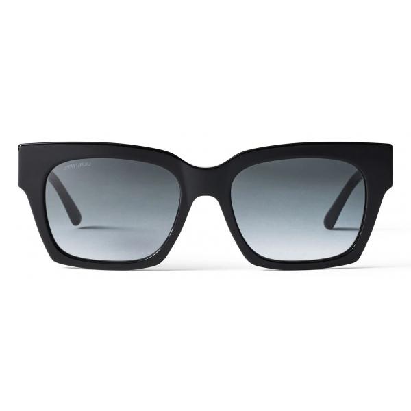Jimmy Choo - Jo - Black Glitter Square-Eye Suglasses with Rose Gold JC Logo - Jimmy Choo Eyewear