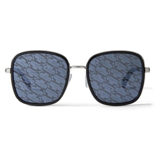 Jimmy Choo - Elva - Black and Silver Palladium Metal Sunglasses with JC-Monogram Lenses - Jimmy Choo Eyewear