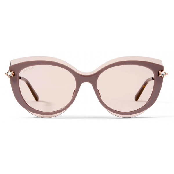 Jimmy Choo - Jill - Occhiali da Sole Cat-Eye Color Carne con Glitter e Logo JC Dorato - Jimmy Choo Eyewear