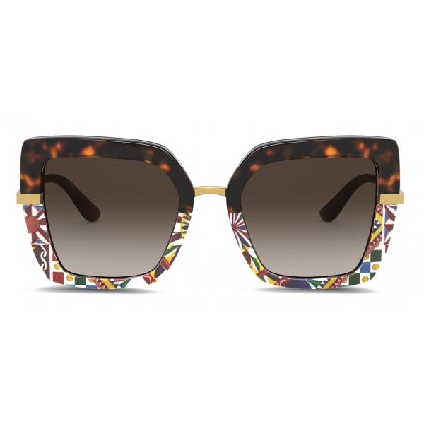Dolce & Gabbana - Half Print Sunglasses - Carretto Print - Dolce & Gabbana Eyewear