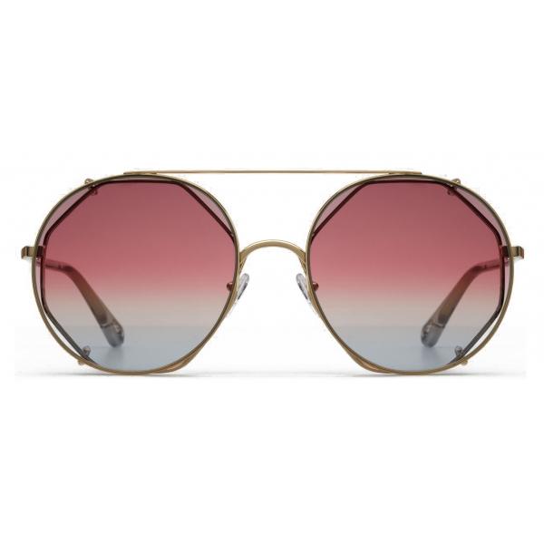Chloé - Occhiali da Sole Rotondi in Metallo Carlina Twist - Oro Viola Rosa Giallo - Chloé Eyewear
