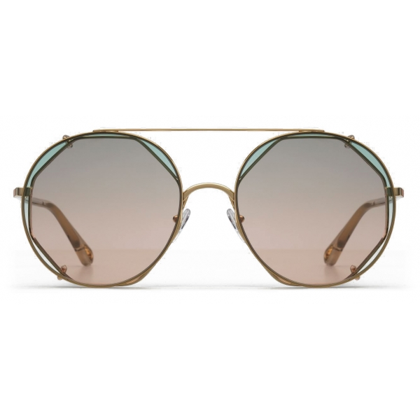 Chloé - Demi Metal Sunglasses with Octagonal Base & Round Clip-On Lenses - Gold Green Pink - Chloé Eyewear
